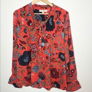 Loft Orange Floral Blouse